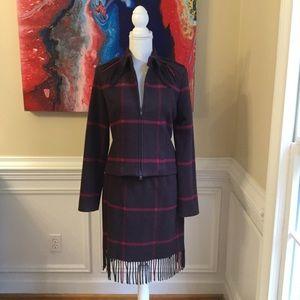 WORTH Wool Blend Plaid Fringe Skirt Suit Sz.4
